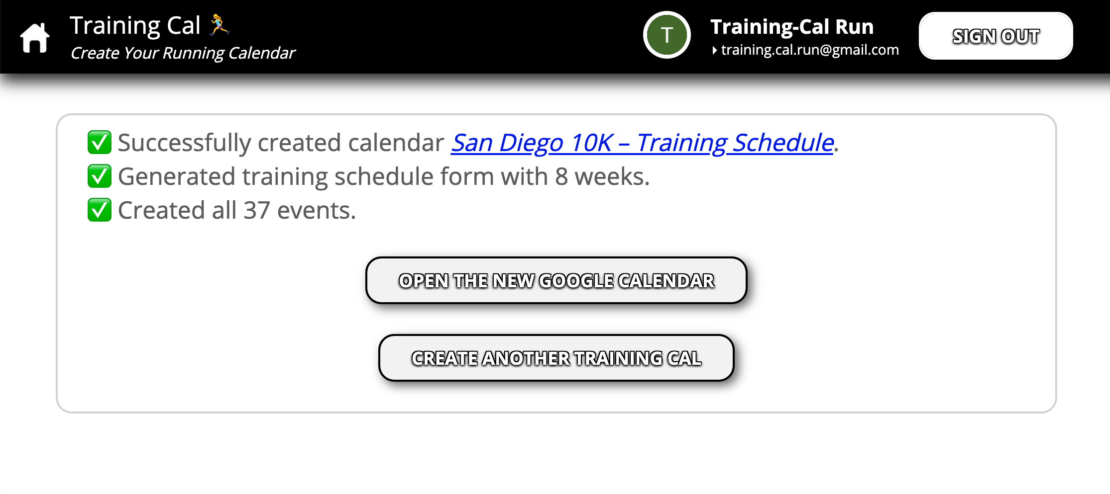 Screenshot of Training Cal – Creating Events Completed.