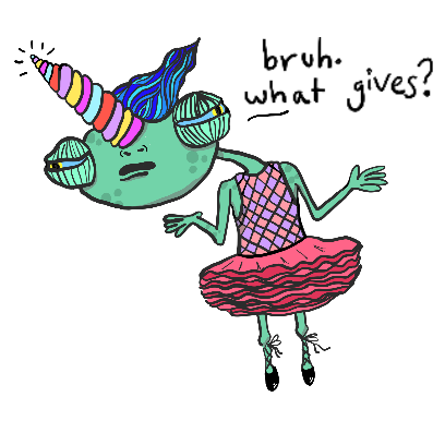 Monsta Monsta Sticker – Chameleon In A Tutu Saying 'What Gives?'
